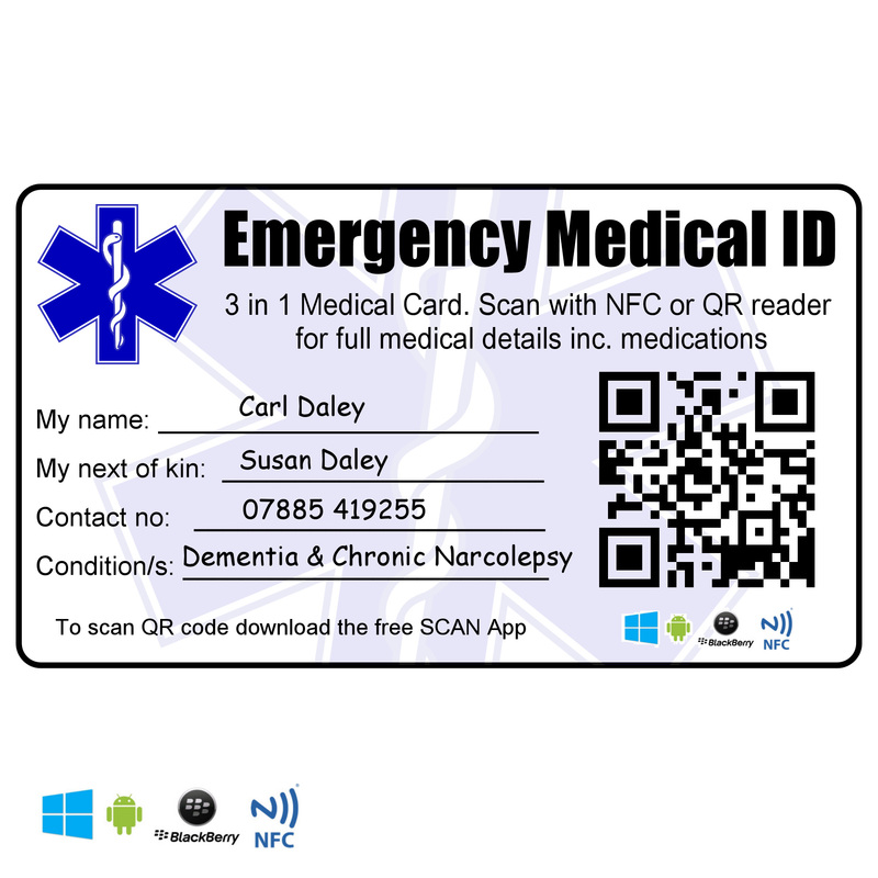 Emergency medical identity wallet card id nfc rfid photo for Next of kin form template uk