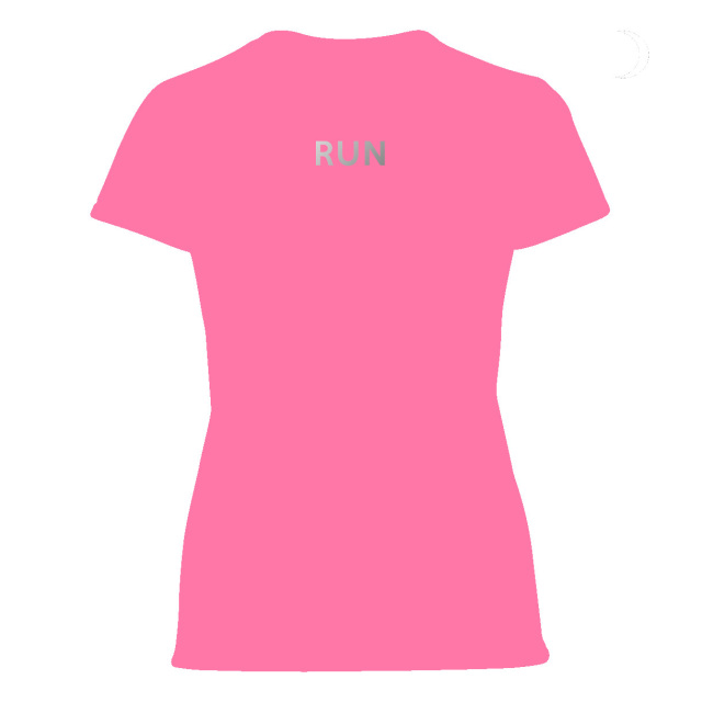 Ladies reflective running tshirt hot fluorescent pink for Hot pink running shirt