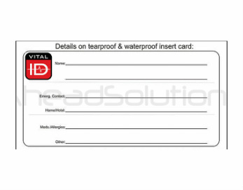 Vital ID Spare Cards for Identity Vital ID Wristbands and Bracelets