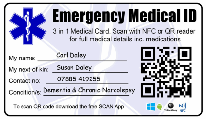 Emergency Medical Identity Wallet Card. NFC RFID and QR Coded.
