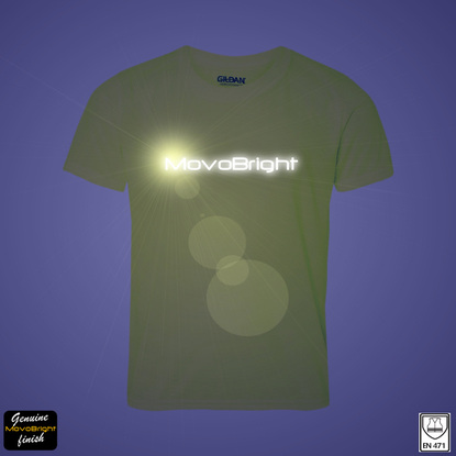 Reflective text t-shirt printing service. Customization of t-shirts and other garments. Your bespoke design