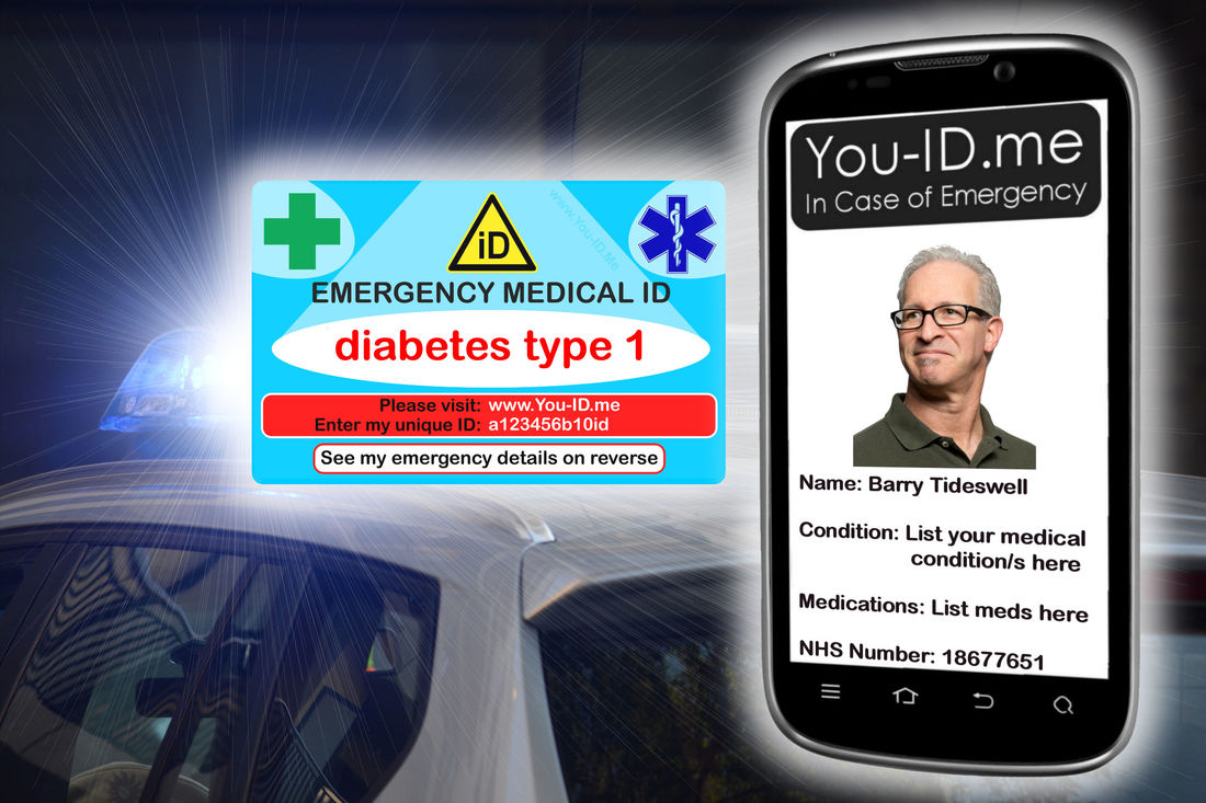 Diabetes medical ID card shown infront of a police car with its emergency lights flashing