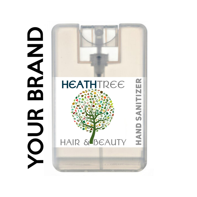Custom label hand sanitiser bottle for hair and beauty salons or small business
