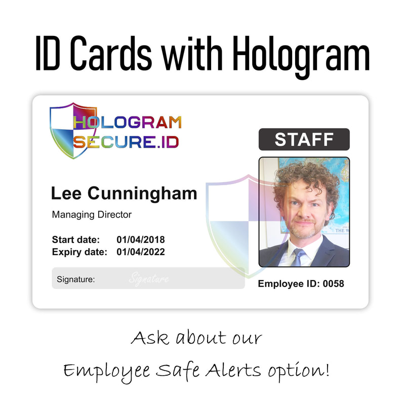 TOWN holographic ID cards printed with hologram for staff, employee, visitors, worker, company, personnel