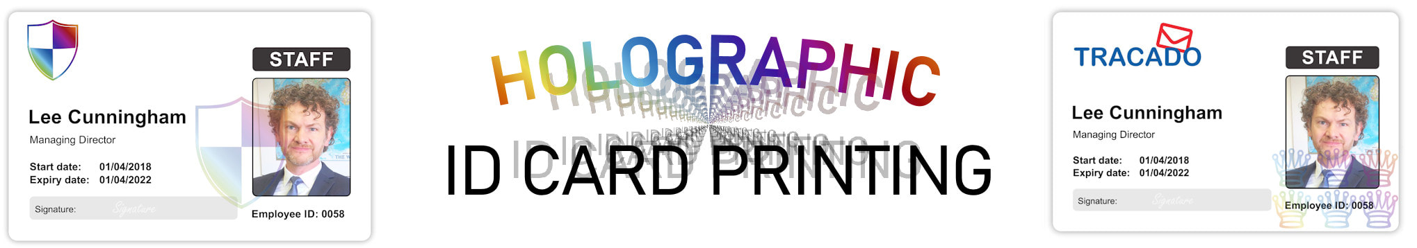 Manchester holographic ID card print service. Employee Identity cards with hologram or holograph security mark.