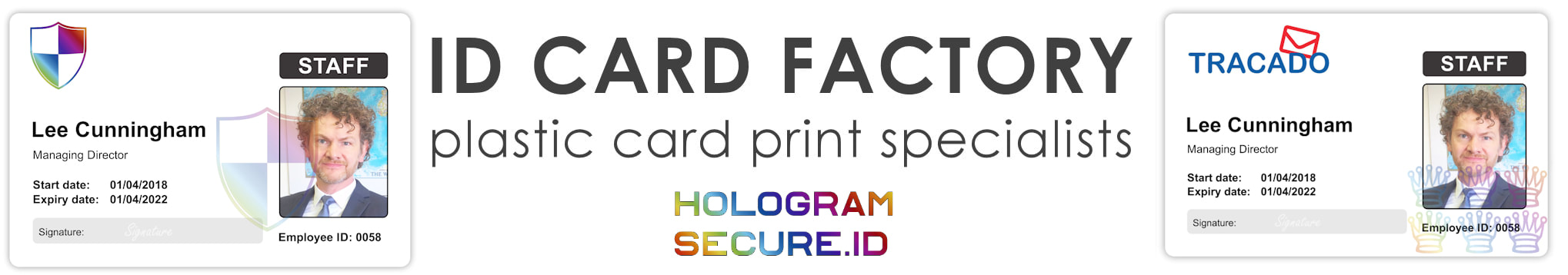 Newcastle holographic ID cards | examples of staff photo ID cards | samples of employee Identity card printing | Workers ID cards printed with hologram