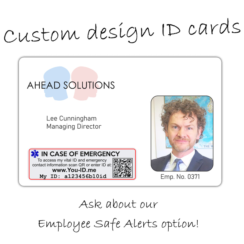 Plymouth company ID card printing, custom print employee id card with alert technology built in Plymouth staff ID cards