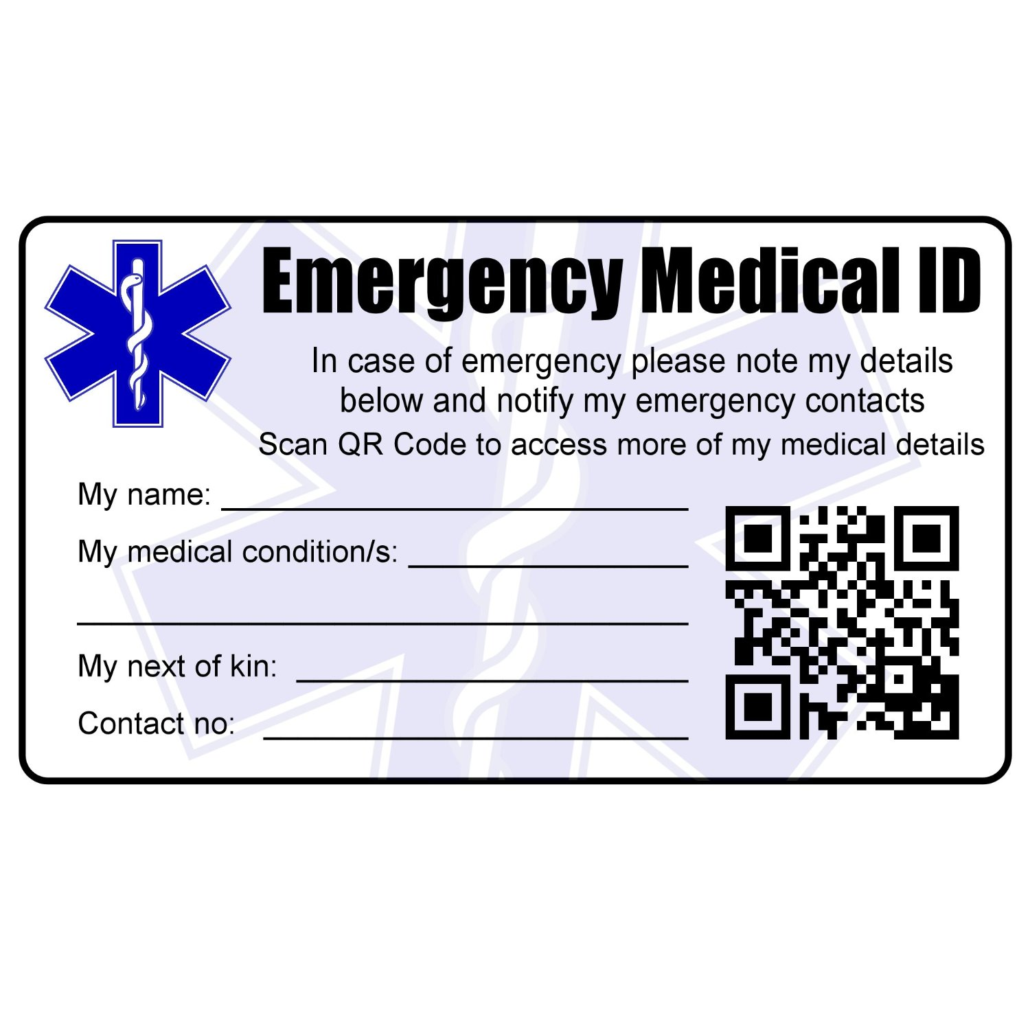 Medical Id Wallet Card With Qr Code